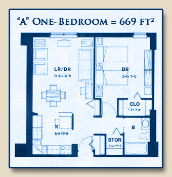 Unit A has One Bedroom with 669 Square Feet