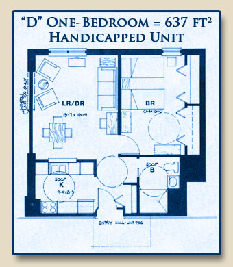 Unit D has One Bedroom with 637 Square Feet