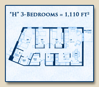Unit H has Three Bedrooms with 1,110 Square Feet