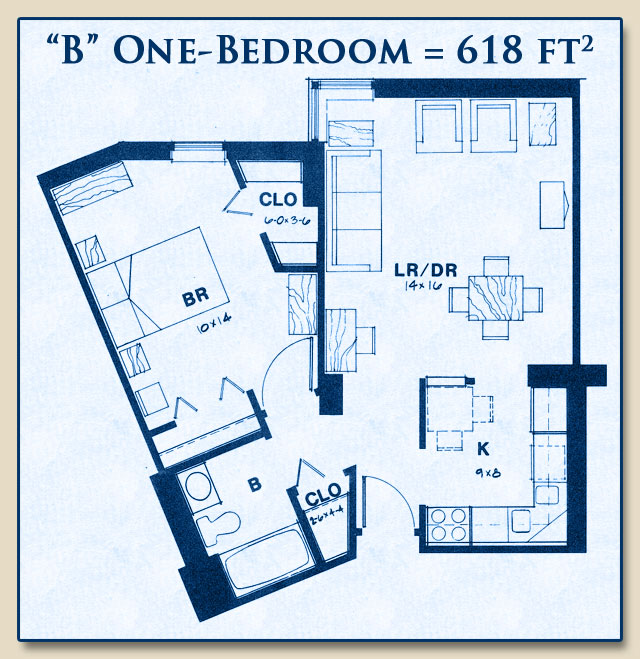 Unit B has One Bedroom with 618 Square Feet