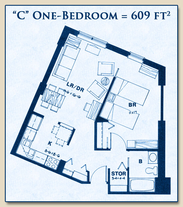 Unit C has One Bedroom with 609 Square Feet