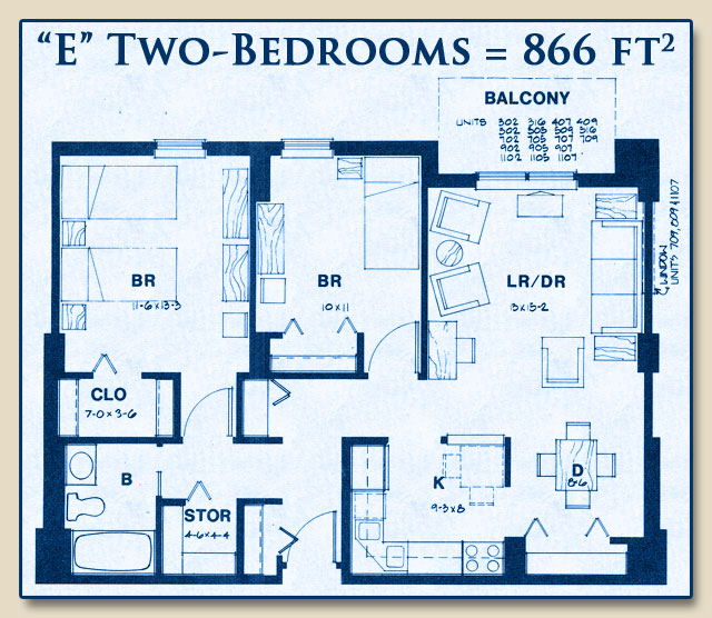 Unit E has Two Bedrooms with 866 Square Feet