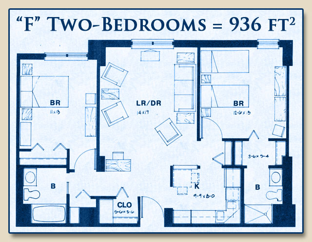 Unit F has Two Bedrooms with 936 Square Feet