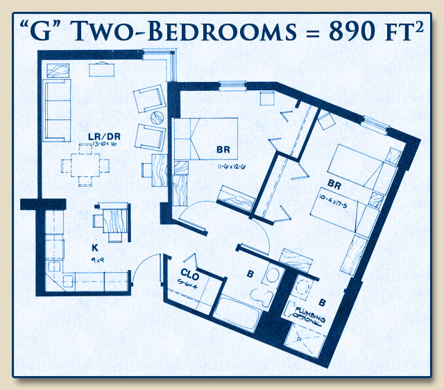 Unit G has Two Bedrooms with 890 Square Feet